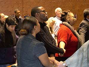 students worship together