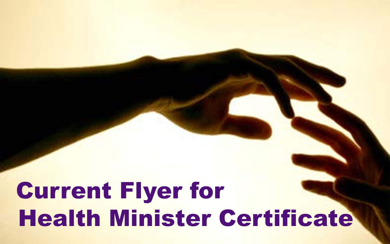 Online Health Minister Certificate Flyer graphic.WTS