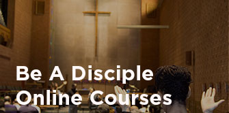 Cross in chapel with Be A Disciple text