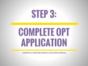 OPT Application Process, Step 3: Complete OPT Application