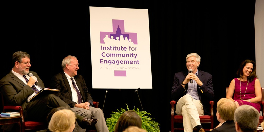 Image of President McAllister-Wilson, Mike McCurry, David Gregory and Rex. Ginger Gaines-Cirelli at panel discussion June 7, 2016
