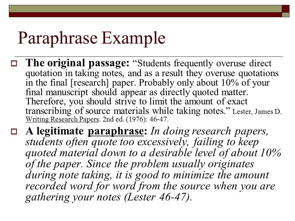 Essay paraphrasing