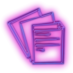 Glowing Purple Neon Icon Business Document8