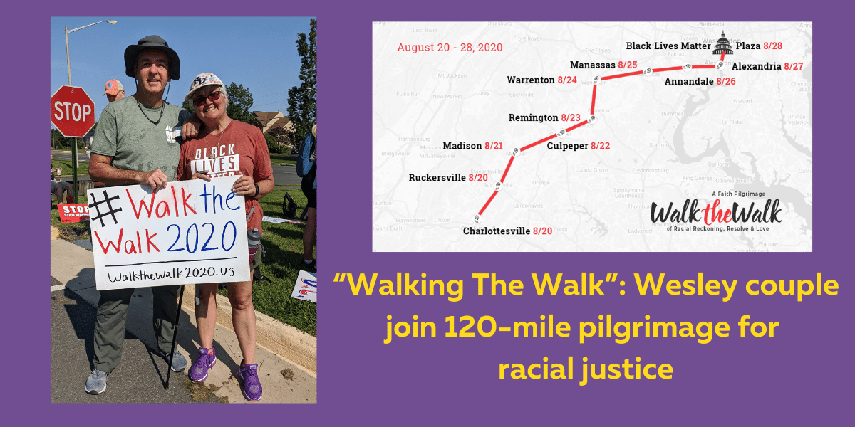 """2Banner_ """"Walking The Walk""""_ Wesley couple join 120-mile pilgrimage for racial justice"""